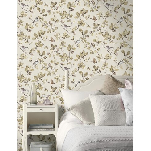 Acorn Trail 10m L x 53cm W Floral and Botanical Roll Wallpaper