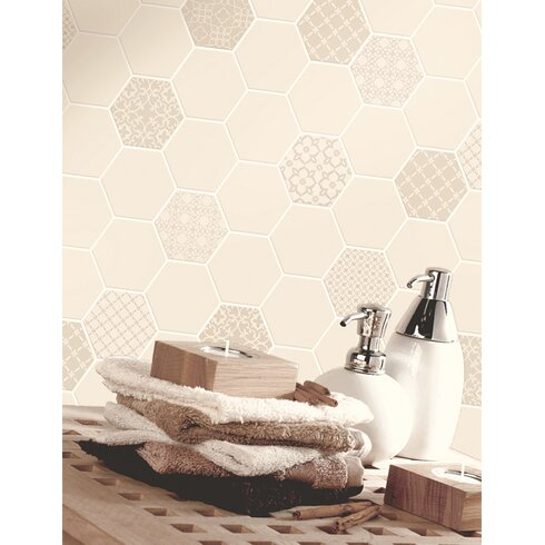 Tiling on a Roll 10m L x 53cm W Geometric Roll Wallpaper
