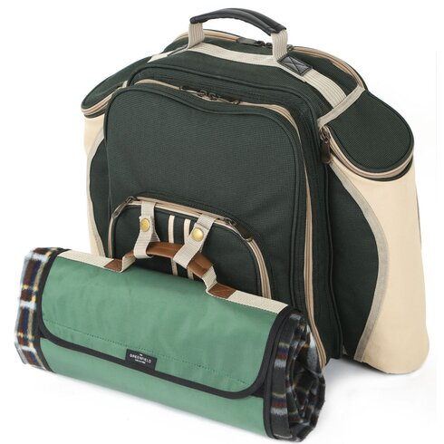 Super Deluxe Picnic Backpack Hamper for Four People with Picnic Blanket
