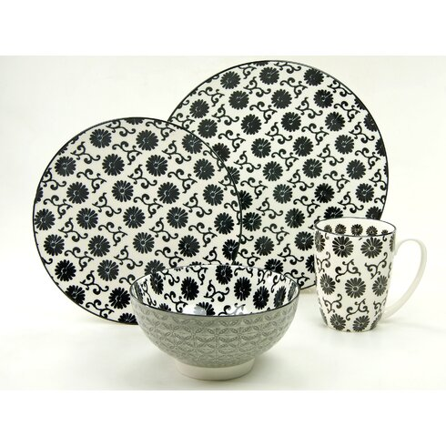 New Style Black Flower4 Piece Breakfast Set, Service for 1