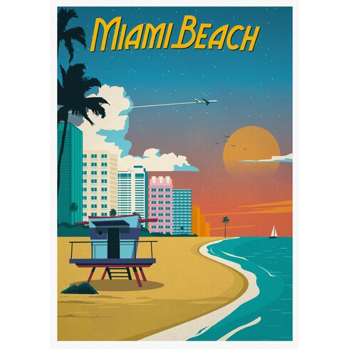 Miami Travel Vintage Advertisement Wrapped on Canvas