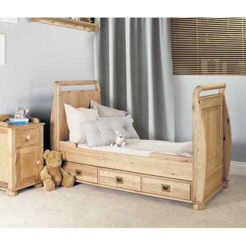 Amelie Childrens Oak Bedroom 2-in-1 Convertible Cot