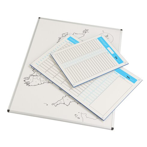 Wall Mounted Planner Whiteboard, 90cm H x 60cm W