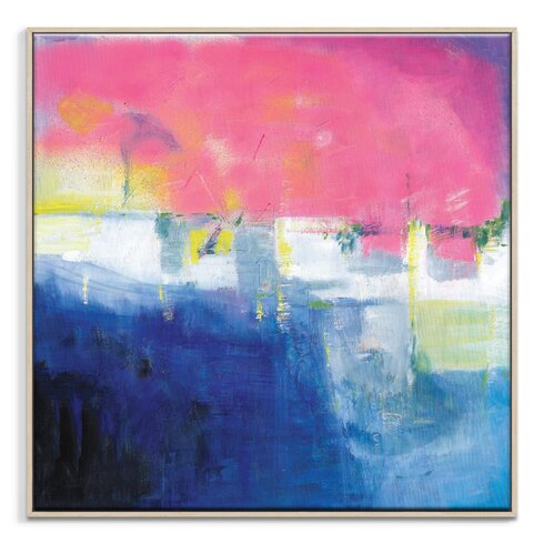 'Pink Sunset' by Brenda Meynell Framed Art Print on Wrapped Canvas