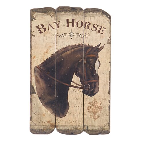 Bay Horse Graphic Art on Plaque