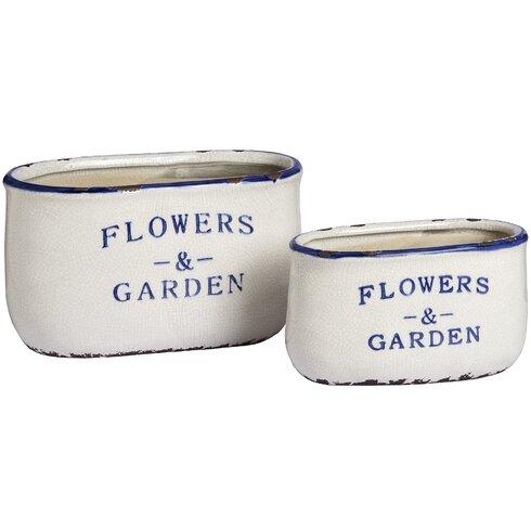 Flowers and Garden Rectangular 2 Piece Plant Pot Set
