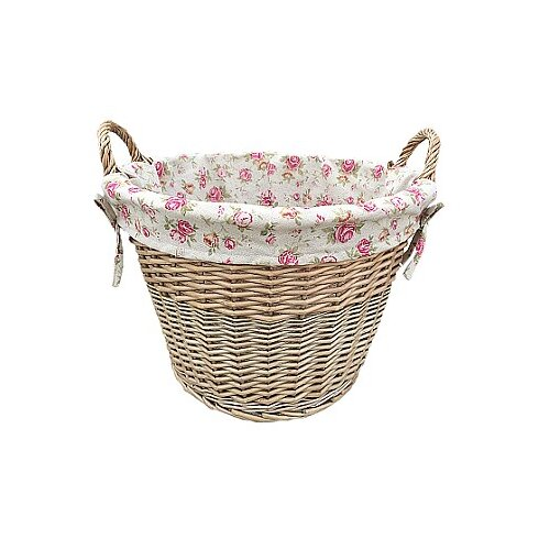 Log Willow Basket with Cottage Rose Lining
