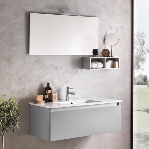 Tuvalu 101cm Wall Mounted Vanity Unit with Mirror, Tap and Cabinet