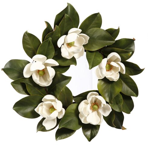 Magnolia Blooms Faux Wreath