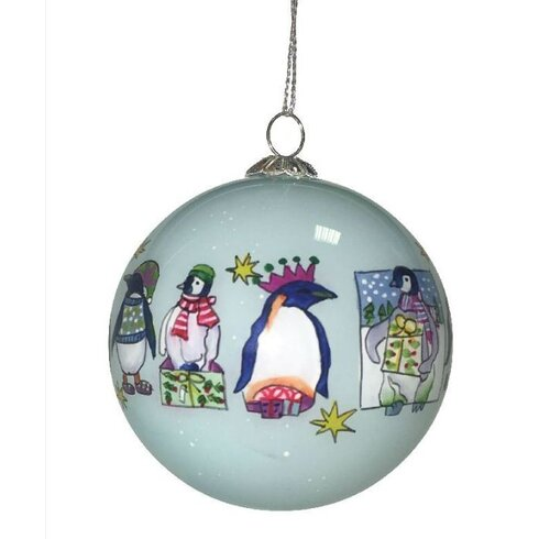 Penguin Hand Painted Glass Ball Ornament