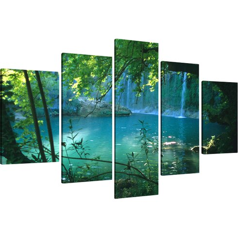 Waterfall 5 Piece Photographic Print Wrapped on Canvas Set