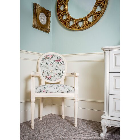 Louis Round Back Floral Carver Dining Chair