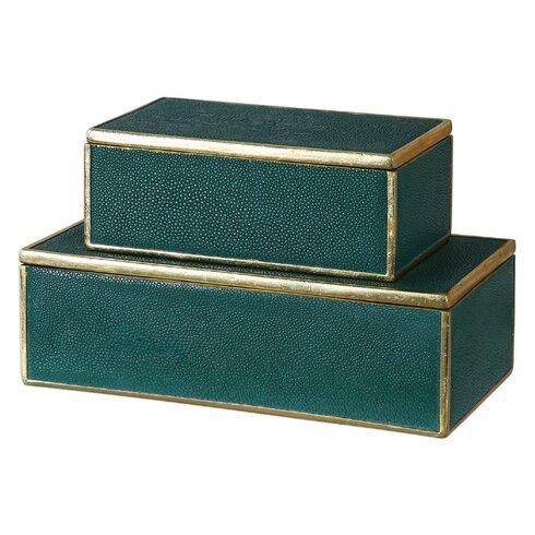 2 Piece Green Decorative Emerald Box Set