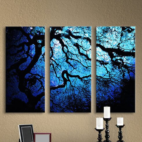 'Japanese Ice Tree' by John Black 3 Piece Graphic Art on Wrapped Canvas Set