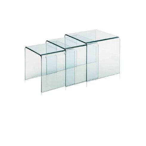 3 Piece Clear Bent Glass Nesting Tables - Fab Glass And Mirror 3 Piece Clear Bent Glass Nesting Tables Wayfair