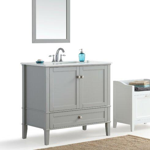 Simpli Home Chelsea 36 Single Bathroom Vanity With Quartz Marble Top Reviews Wayfair