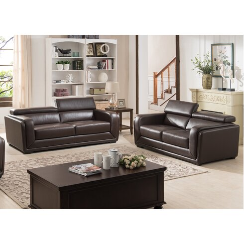 Ac Pacific Calvin Modern 2 Piece Leather Living Room Set Reviews