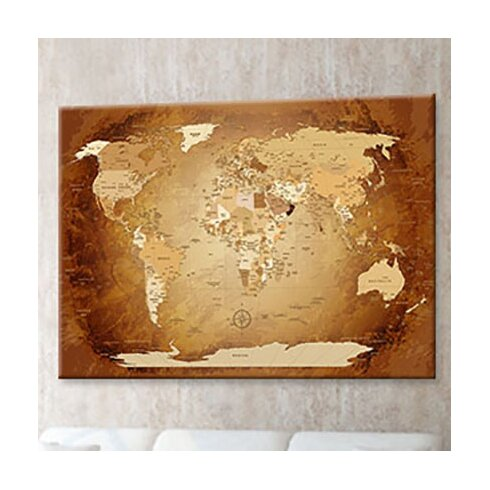 World Map - French Graphic Art on Canvas in Brown