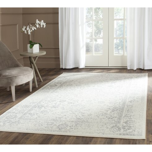 Charlton Home Reynolds Ivory/Silver Area Rug & Reviews | Wayfair