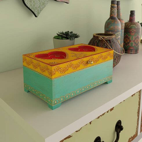 2 Heart Painted Box