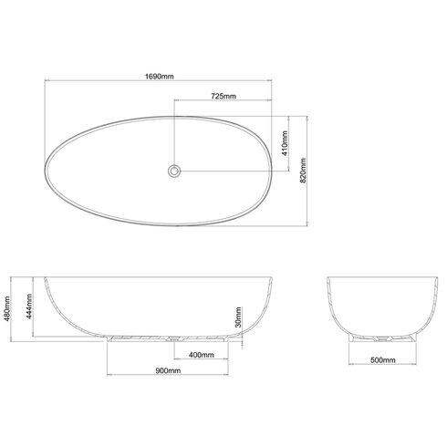 Teardrop 169cm x 82cm Freestanding Soaking Bathtub