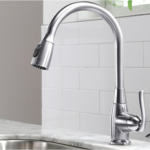 kraus premium faucets single handle pull down standard shop kraus premium satin nickel 1 handle pull down kitchen