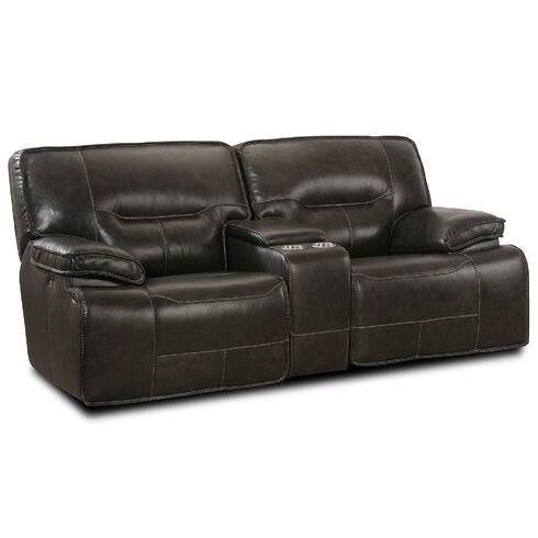 Lyke Home Power Console Glider Leather Reclining Loveseat