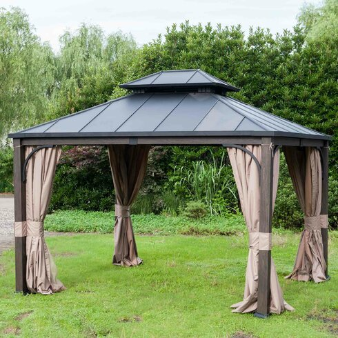 Sunjoy Replacement Curtain And Netting For 10 39 W X 12 39 D Dashley Gazebo