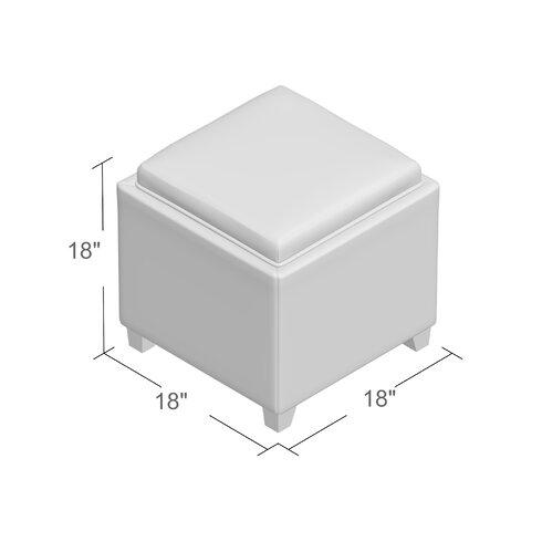 Carroll Storage Ottoman With Tray - Microfiber Storage Ottomans With Trays