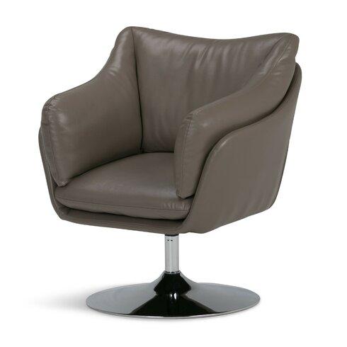 Simpli Home Jasper Air Leather Swivel Barrel Chair