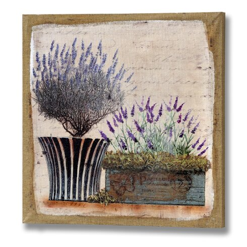 'Lavender in Planters' Painting Print on Canvas