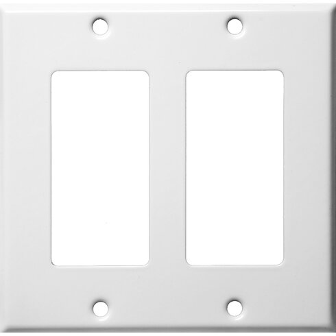 Two Gang Decorator and GFCI Metal Wall Plates in White
