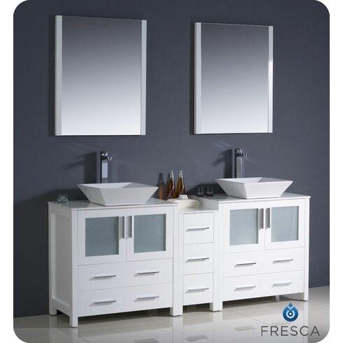 "Torino 72"" Double Modern Bathroom Vanity Set with Mirror"