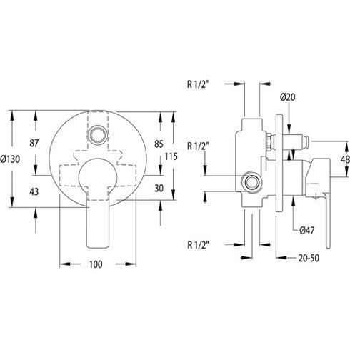 RS Q Single Concealed Shower Valve with diverter