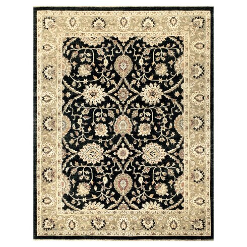 Majestic Hand-Knotted Black/Ivory Area Rug