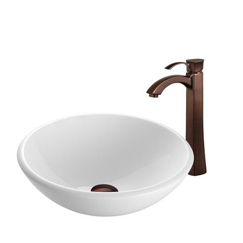 White Phoenix Stone Circular Vessel Bathroom Sink