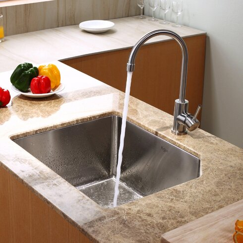 """23"""" x 18.75"""" Undermount Kitchen Sink with Faucet and Soap Dispenser"""
