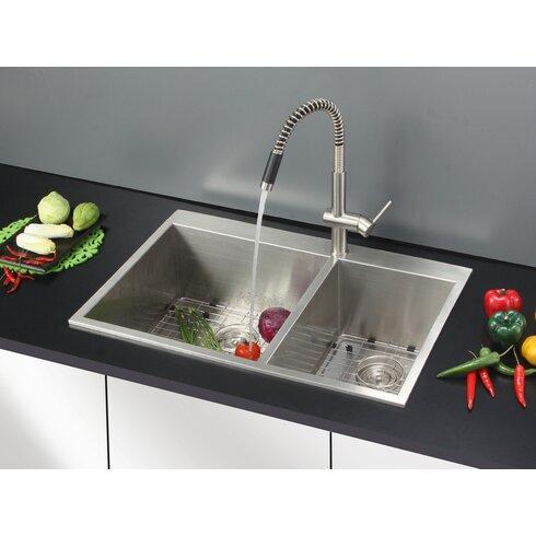 tirana 33 x 22 drop in double bowl kitchen sink - Kitchen Sink Drop In