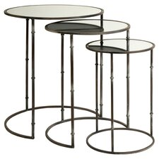 3 Piece Flouressa Mirror Top Nesting Tables by IMAX