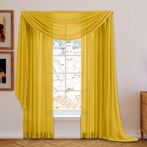 Brushgrove Solid Sheer Curtain Panels (Set Of 2)  Mustard Yellow Curtains