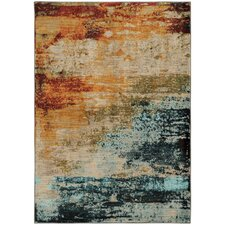 Aveliss Abstract Blue/Red Area Rug