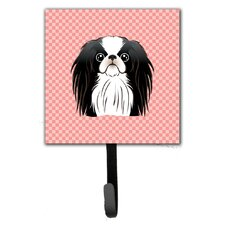 Checkerboard Japanese Chin Leash Holder and Wall Hook by Caroline's Treasures