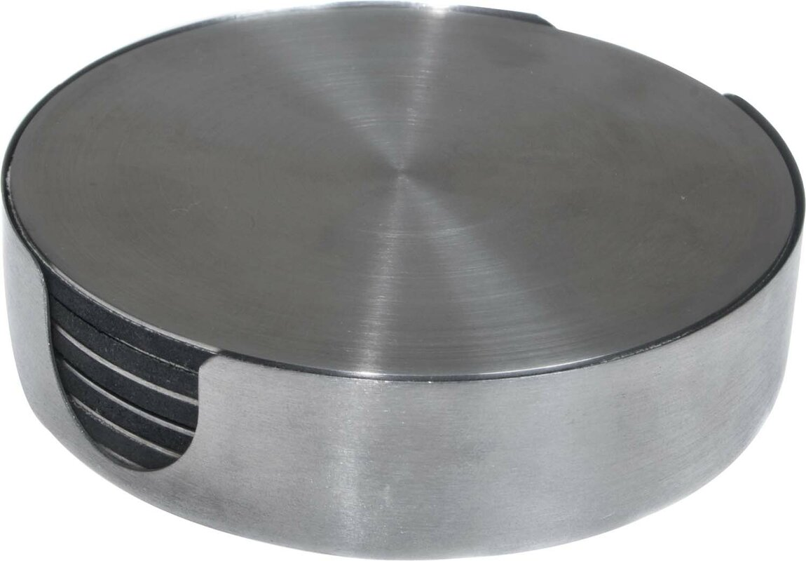 thirstystone  piece stainless steel round coaster set  reviews  - defaultname