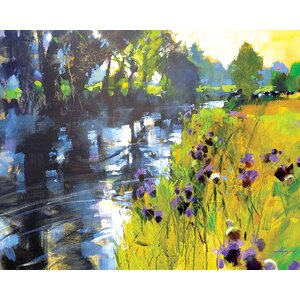 'Sun and Meadow Thistles' by Chris Forsey Framed Wall art on Canvas