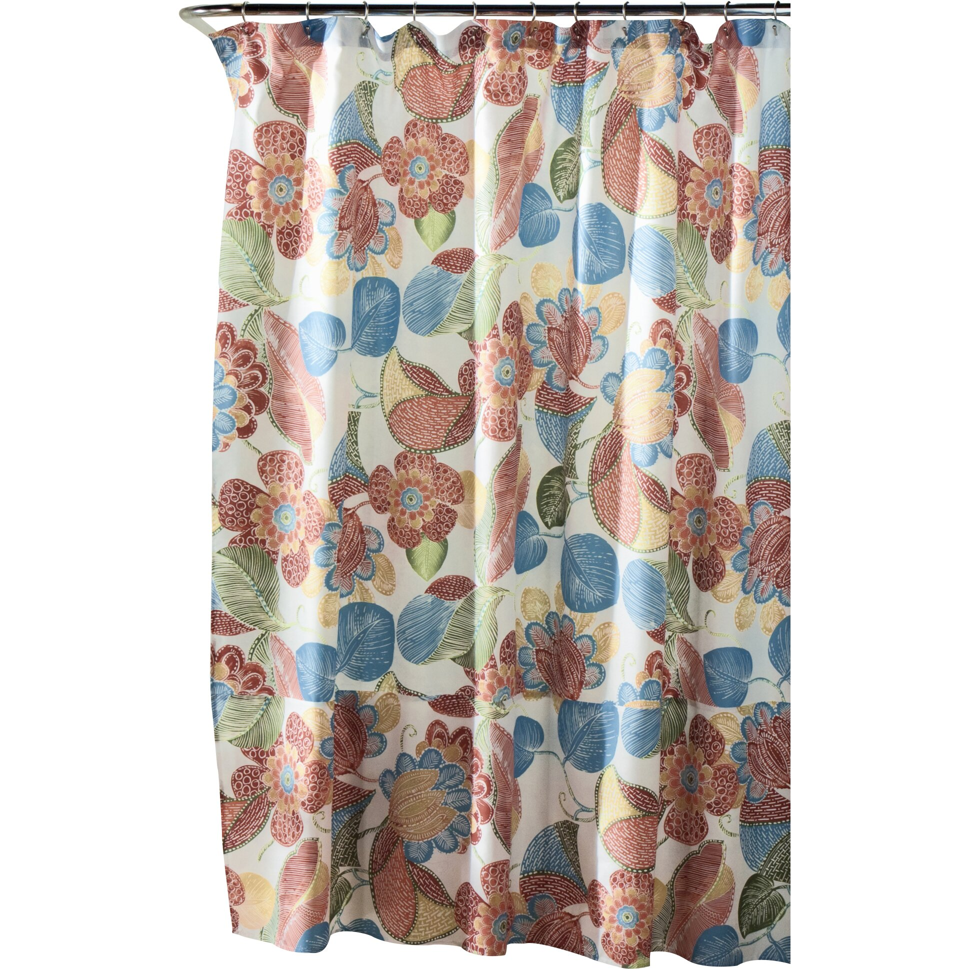 Mistana Carnuel Polyester Shower Curtain  Reviews Wayfair - Brown and turquoise shower curtain