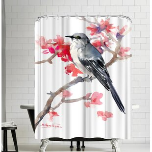 Suren Nersisyan Mockingbird and Spring Blossom Single Shower Curtain