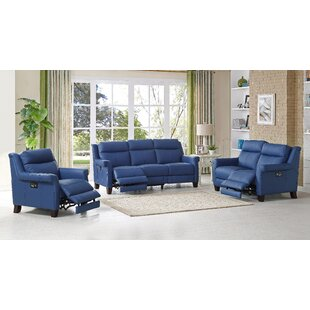 Dolce Reclining Leather 3 Piece Living Room Set HYDELINE