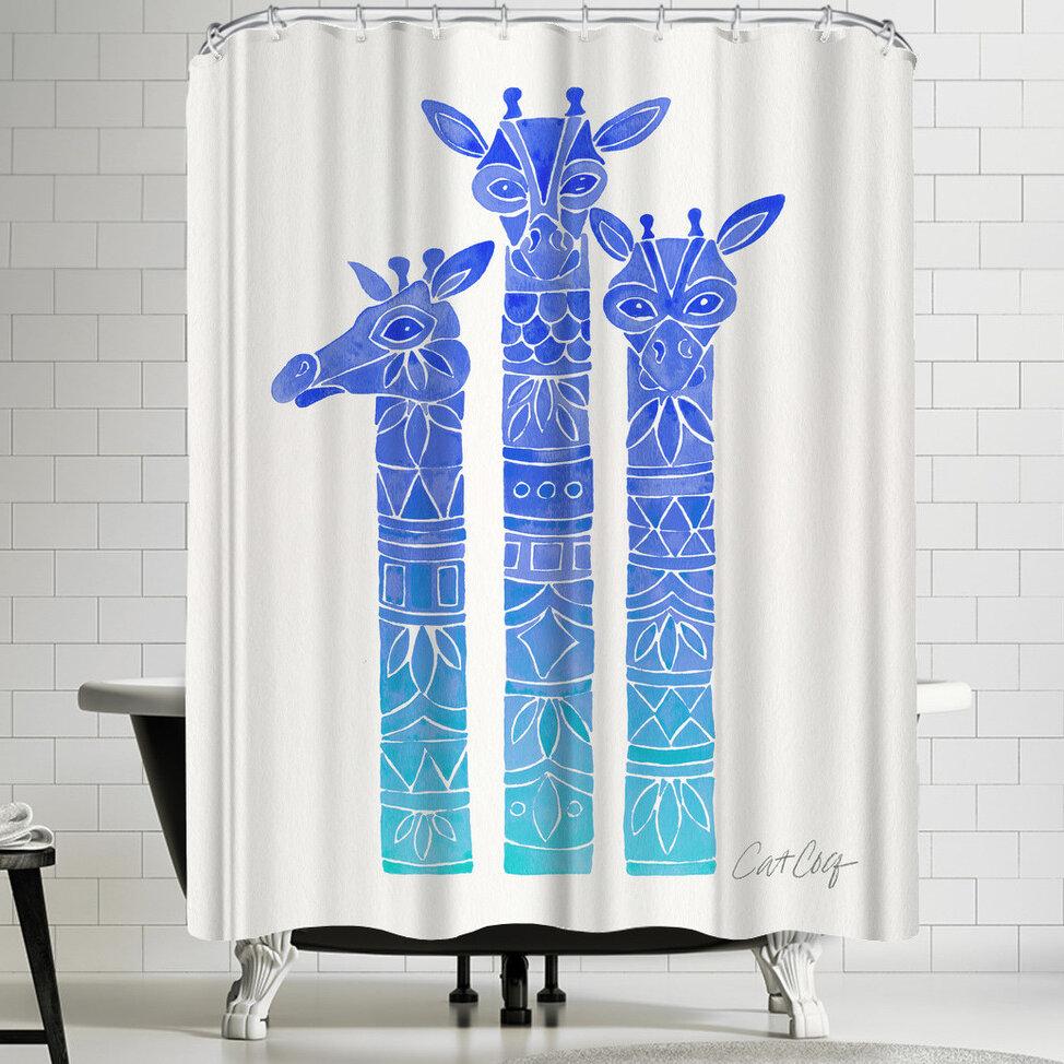 East Urban Home Blue Ombre Giraffes Shower Curtain