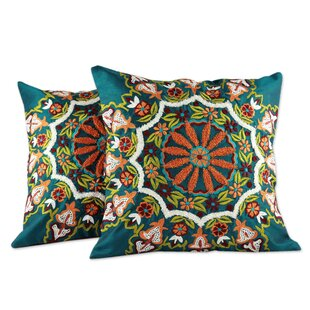 Floral Forest Floral Embroidered Pillow Cover (Set of 2)