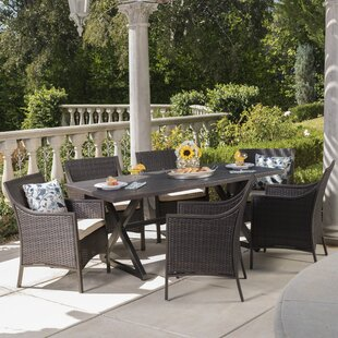 Gracie Oaks Dolph 7 Piece Dining Set with Cushions